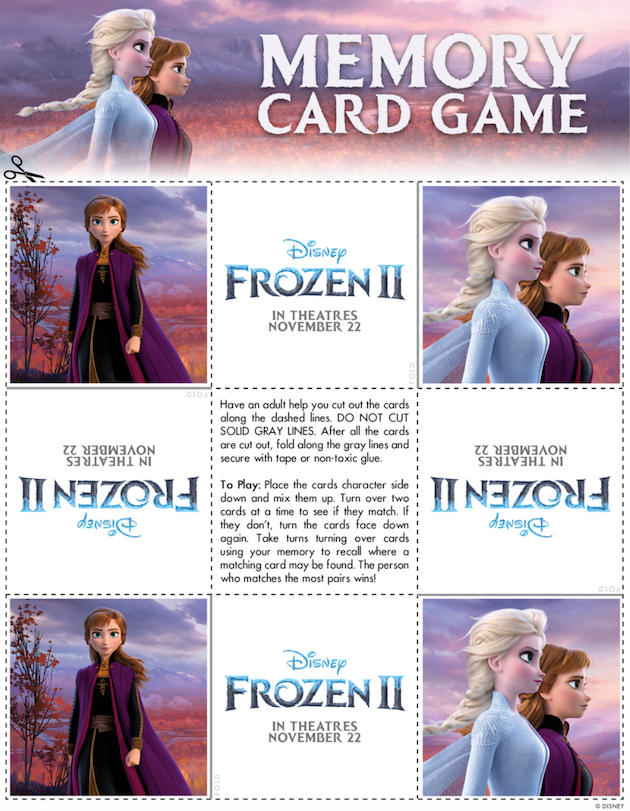 Frozen 2 Printable Memory Card Game