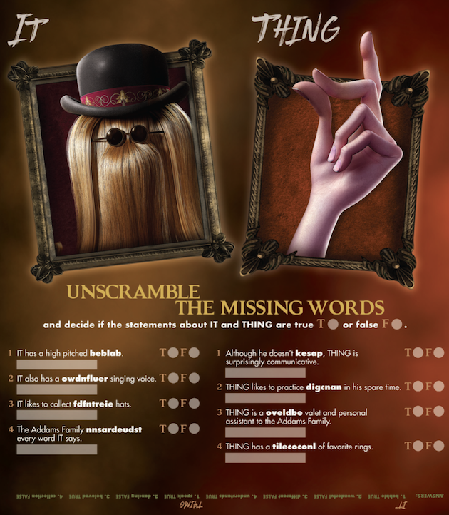 Addams Family Unscramble Game