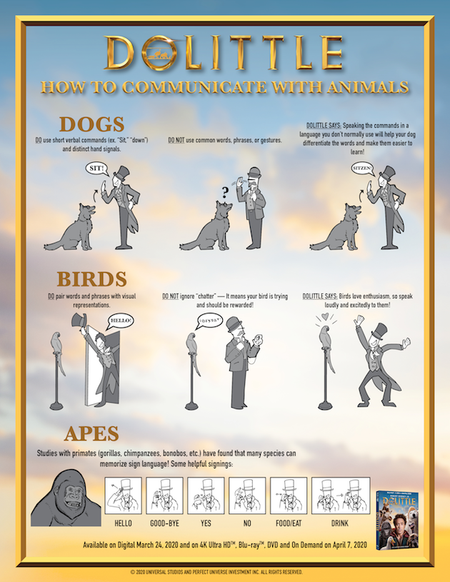 Dolittle Printable How to Communicate With Animals