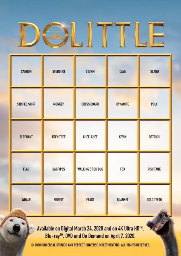 Dolittle Printable Movie Bingo Card