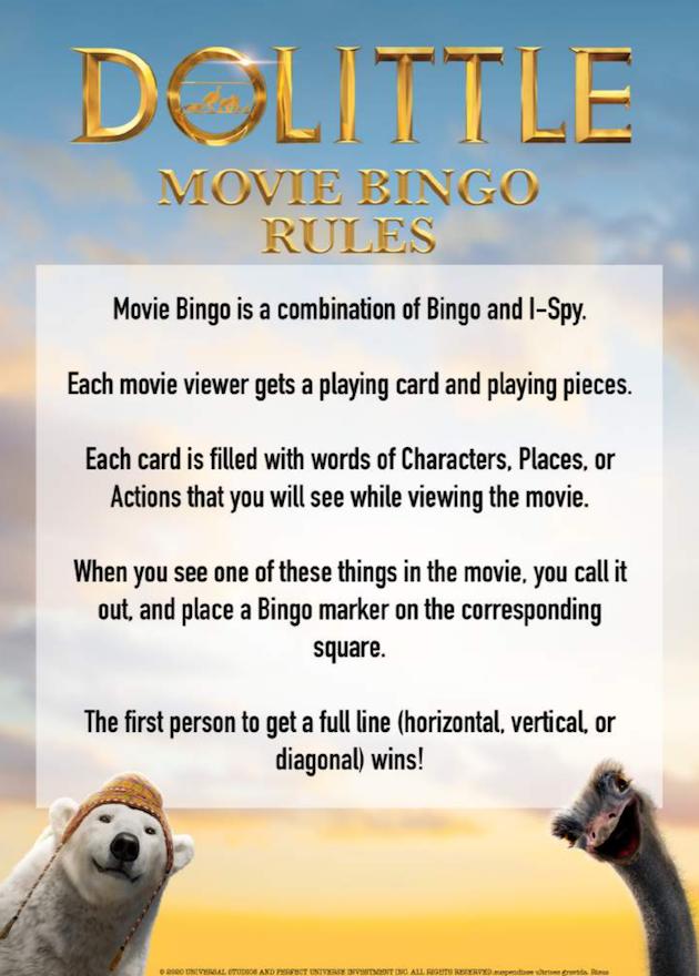 Dolittle Printable Movie Bingo