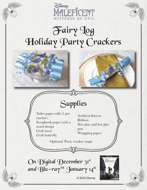 Maleficent Fairy Log Holiday Party Crackers