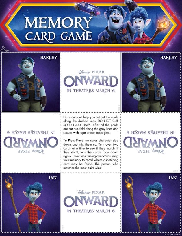 Pixar Onward Memory Game