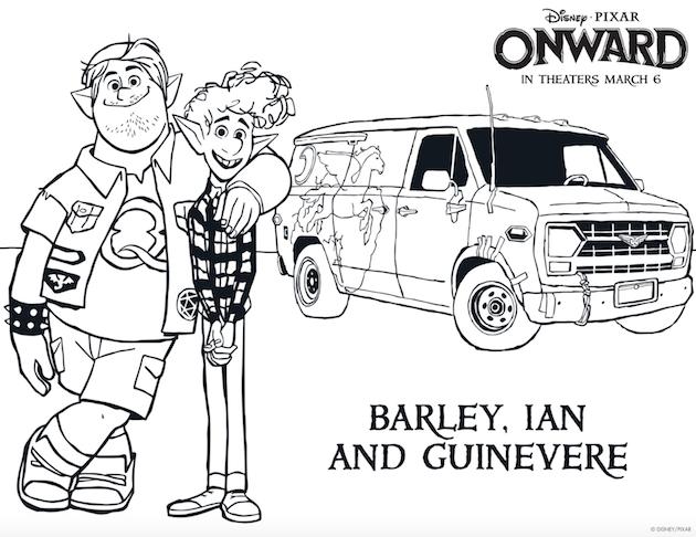 Pixar Onward Printable Coloring Sheet Barley Ian Guinevere