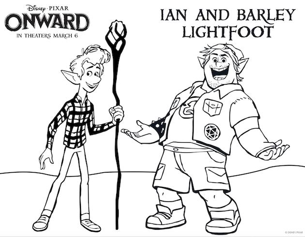Pixar Onward Printable Coloring Sheet Ian and Barley