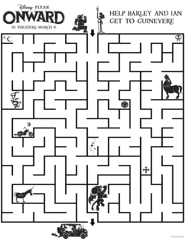 Pixar Onward Printable Maze