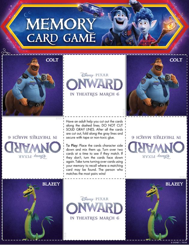 Printable Onward Memory Game