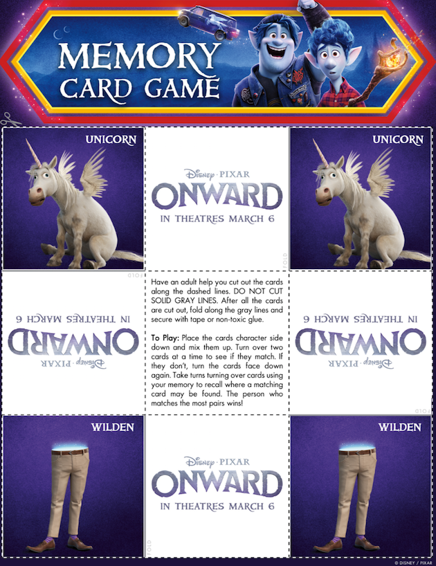 Printable Pixar Onward Memory Game