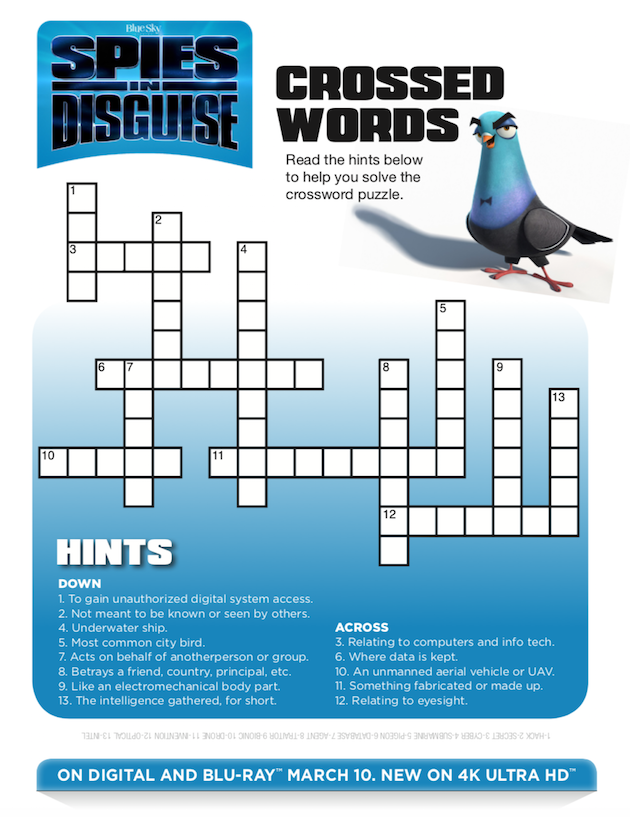 Spies in Disguise Printable Crossword Puzzle