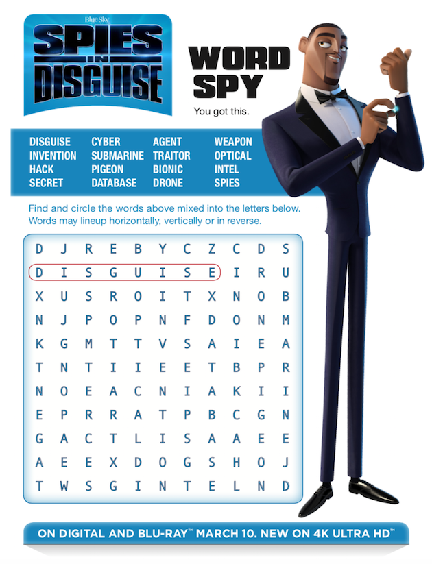 Spies in Disguise Printable Word Search