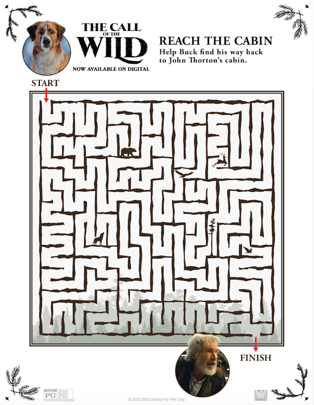 The Call of the Wild Printable Maze