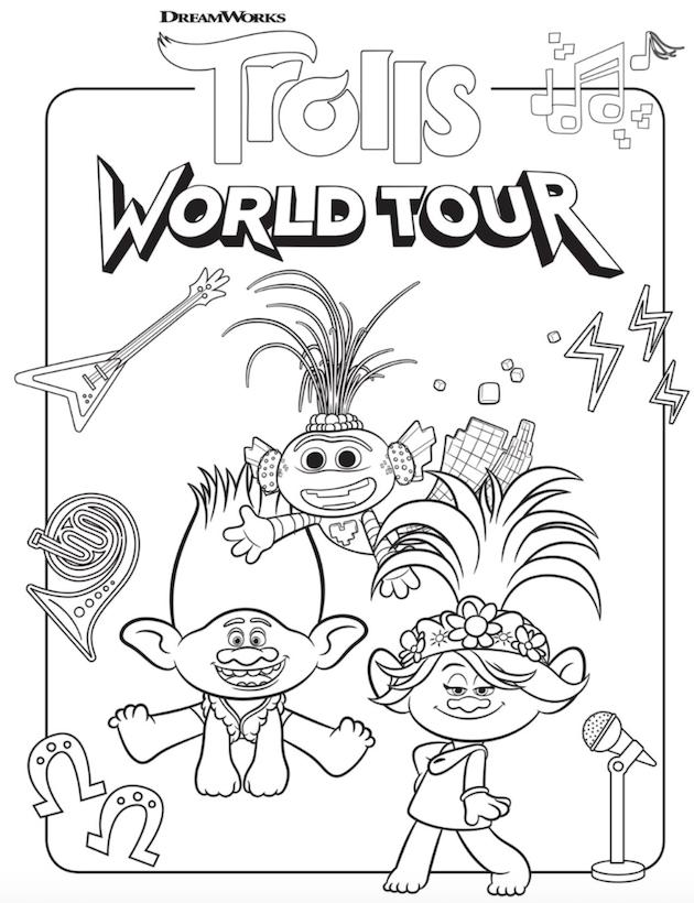 Trolls World Tour Coloring Sheets