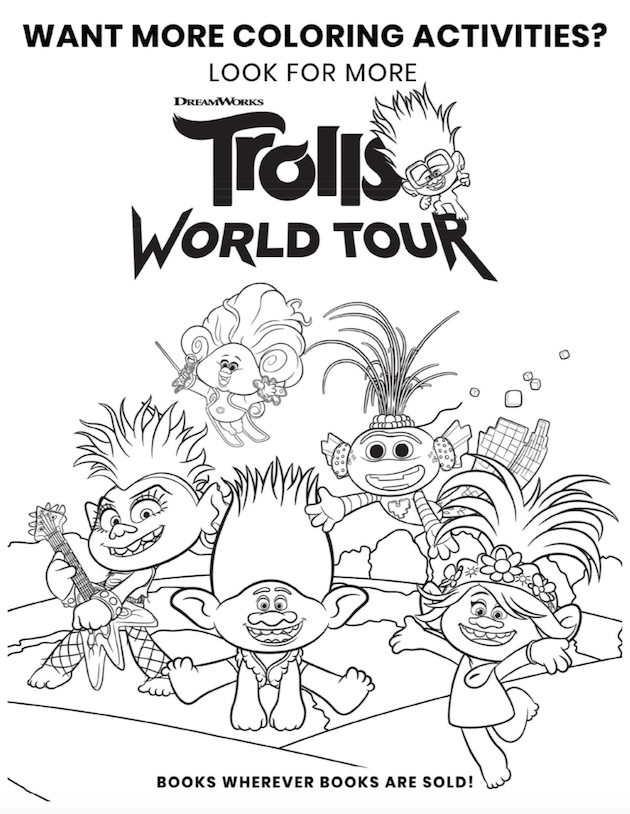 Trolls World Tour Printable Coloring Sheet