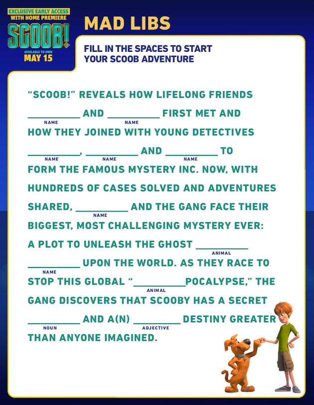 Scooby Doo Mad Libs
