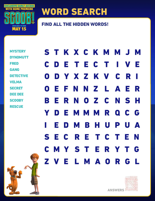 Scooby Doo Printable Word Search