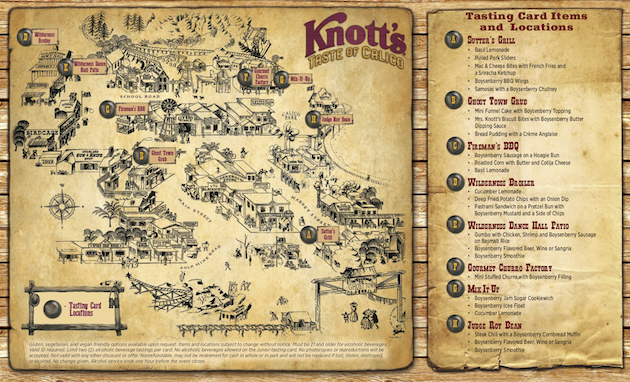 Knotts Taste of Calico Map and Tasting Card