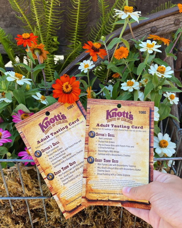 Knotts Taste of Calico Tasting Card