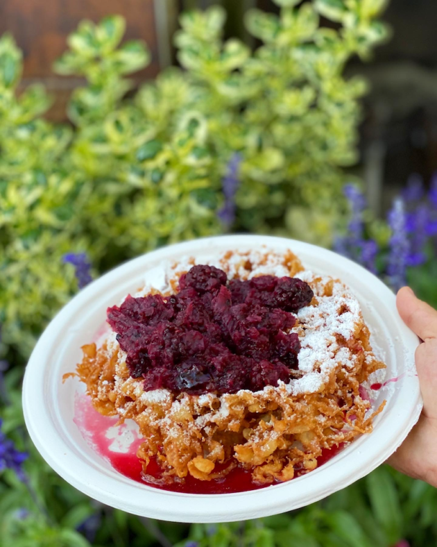 Mini Boysenberry Funnel Cake