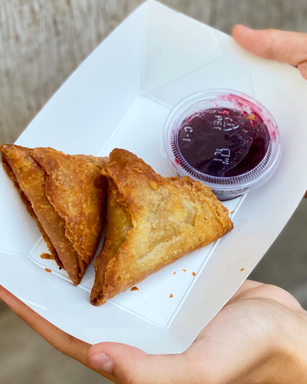 Samosas with a Boysenberry Chutney