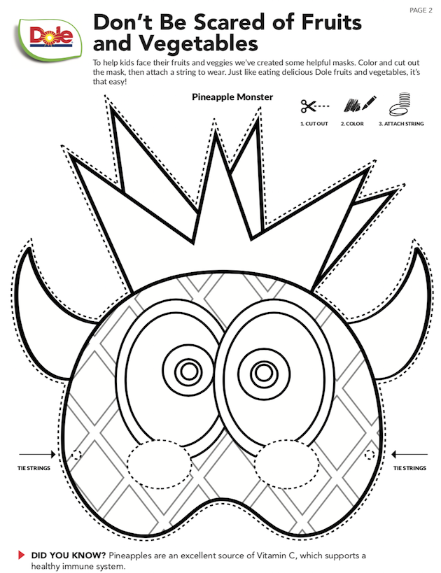 Dole Printable Pineapple Mask