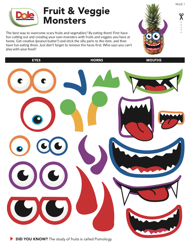 Fruit and Veggie Monsters Printables